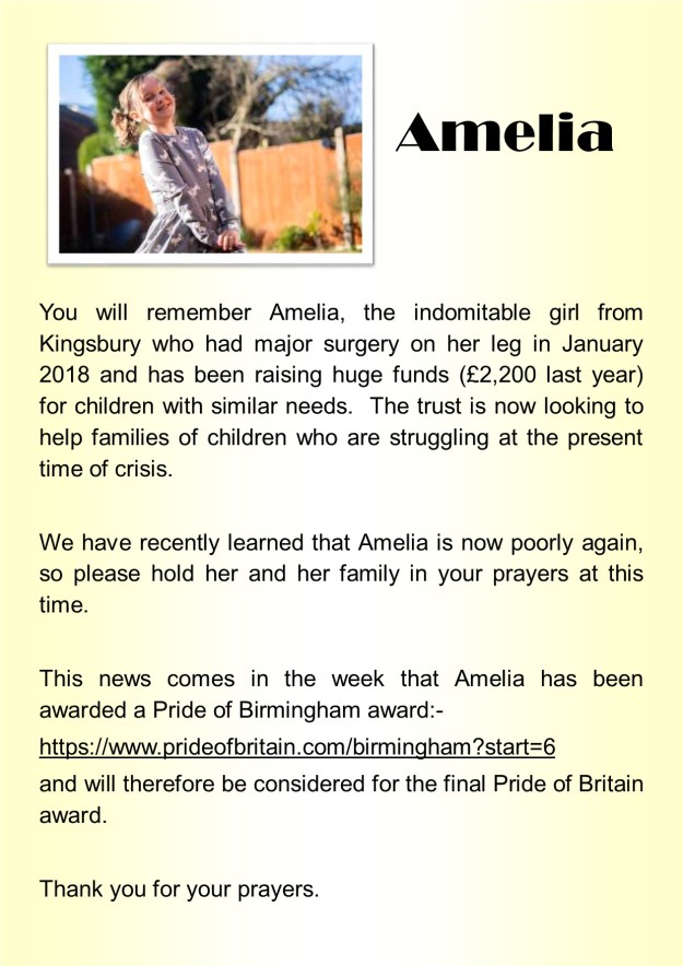 March 2020 - please pray for Amelia