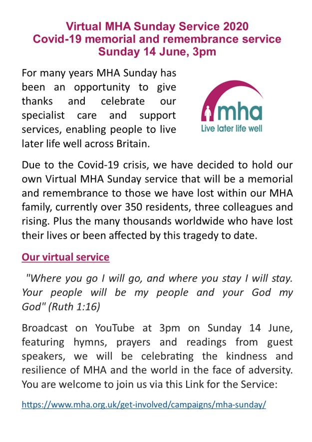 MHA Virtual Service June 2020